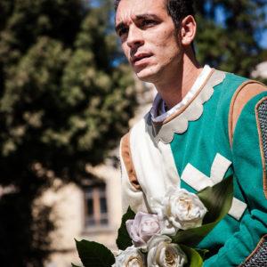 Uno dei due cavalieri di Porta Sant'Andrea durante la benedizione (Arezzo 2009)